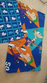 Phineas and Ferb single duvet cover and pillow case.