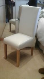 4 Cream Leather Look Dining Chair