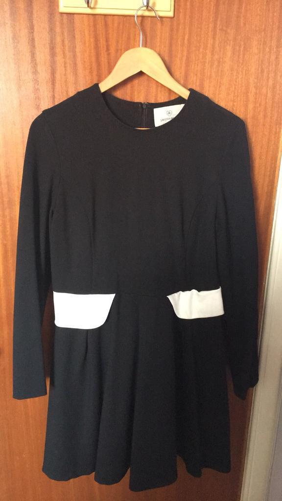 0b9183a87d03 Lavish Alice Black Long Sleeve Skater Dress with White Detail. Size ...