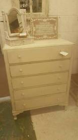 Cream vintage chest of drawers/tall boy