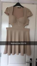 Beige dress size 16 boohoo