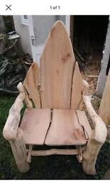 Storytelling wooden throne garden chair