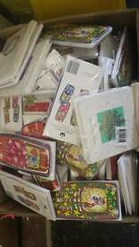 700 Christmas cards 2 boxes full ideal carboot or shop