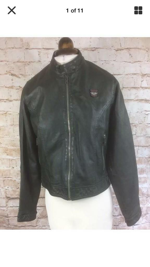 Ladies Girl S Stunning Super Dry Bottle Green Leather Biker Jacket