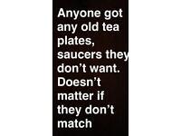 WANTED tea sets, plates, saucers etc