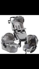My Babiie Billie Faiers MB200+ Travel System Grey Stars pram buggy car seat carrycot