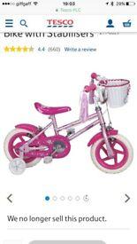 Girls 12 inch sparkle glitz bike with stabiliser