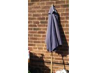 Blue and wood parasol excellent condition