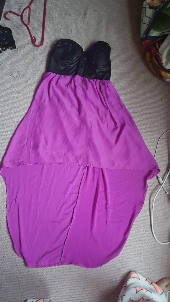 Leather top dip hem dress size 12