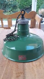 Industrial Ceiling Lights. Original Verity's of Birmingham Green Enamel. Rewired and restored.