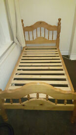 2 Wooden single beds both in good condition with 1 Mattress
