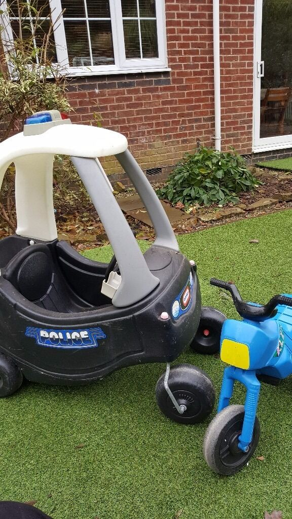 Little tikes police car and unbranded motor bike