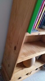 Antique pine solid wood bookcase with 3 shelves and 2 bottom draws