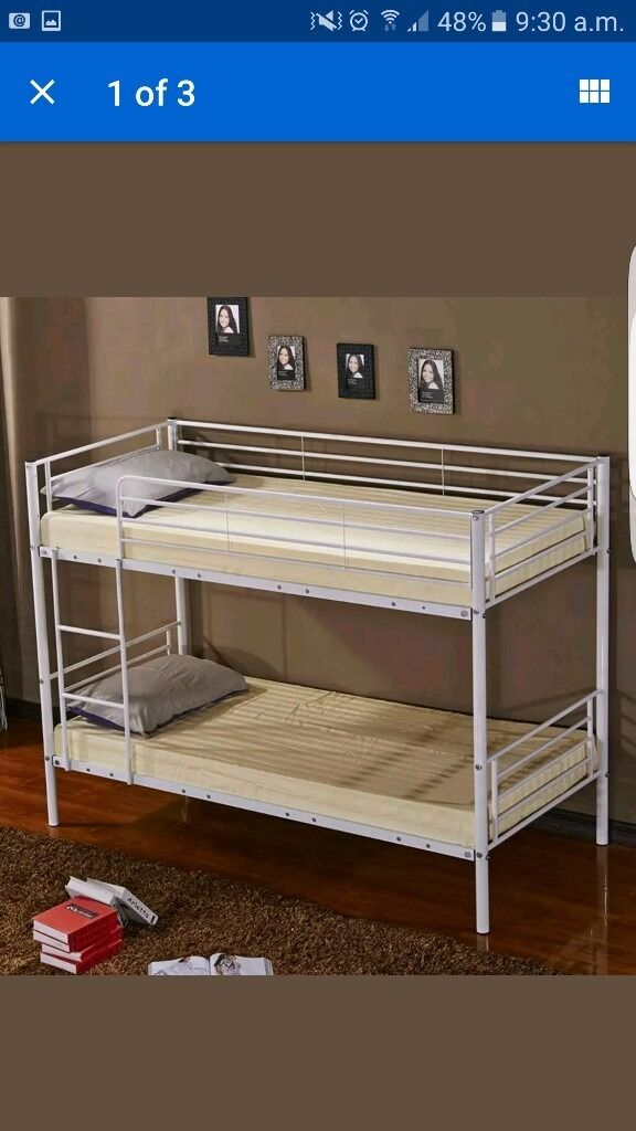 WHITE METAL BUNK BED WITH REFLEX ORTHOPAEDIC MEMORY FOAM MATTRESSES
