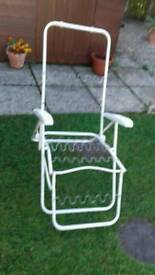 White metal multi position garden chair frame only