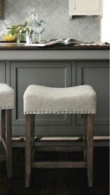 Four Grey Linen Counter Kitchen Stools