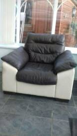 Real leather corner sofa and armchair