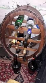 Vintage wooden Wine Rack. Barrel shape as seen