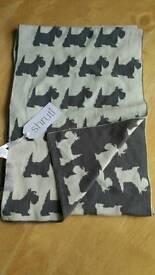 Westie/Scottie dog grey and white reversible scarf