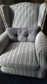 Next striped armchairs & matching footstool *as new*