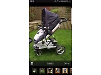 Mamas and pappas skate denim combinated pram pushchair with isofix car seat