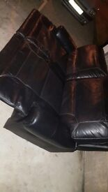 Black leather recliners sofa +2x electric chairs