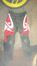 Frank Thomas leather motorcycle trousers,.