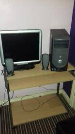 Dell computer and desk £40. Working brilliant