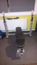 Powertec heavy duty incline/decline bench + 185kg weights, bars and gym mats