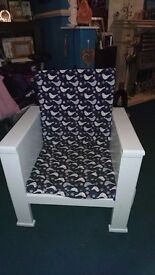 BEDROOM chair recently painted, new foam and covers side pockets/ holders nice chair