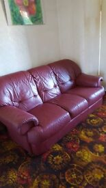 Two 3-seater Red LeatherSofas