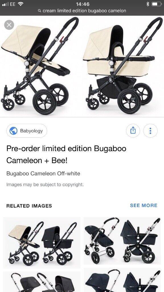 Cream Bugaboo Cameleon With Maxi Cosi Pebble Car Seat And Adaptors