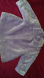 Adams lilac furry baby coat age 1 to 1.5 years beautiful & very soft! Clean and a truly lovely coat!