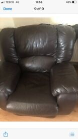 Leather 2 Seater Reclining Sofa & Chair