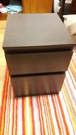 MALM bedside table/chest of drawers, dark brown, like new condition