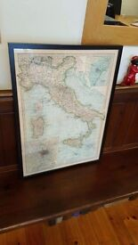 large framed map of Italy
