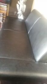 SOFA SOFA BED black looks leather, QUICK SALE ONLY 39 POUNDS
