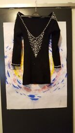 Black beaded low back top size 8