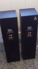 Pair of black Mordaunt Short 25i floor speakers with full set of carpet spike VG condition