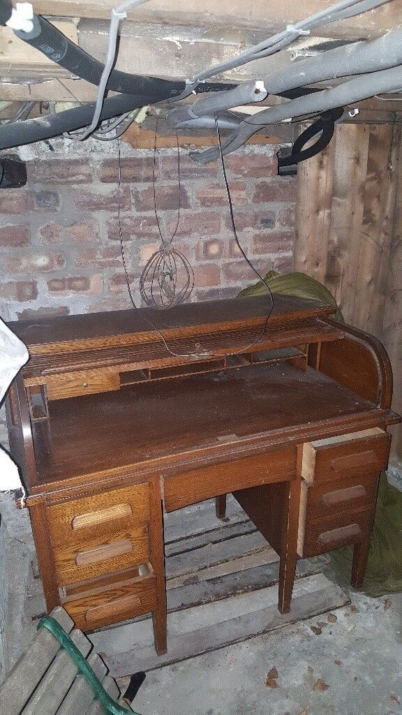 Antique Roll Top Desk Wooden Early 20th Century 3 Drawers Per Side