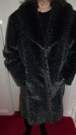 Ladies imitation fur snow leopard coat