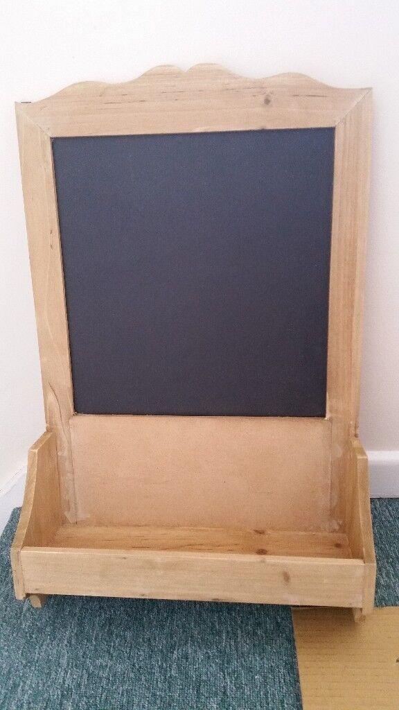 Chalk board - with shelf & hooks - Brand New