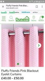 Girls pink spotty blackout curtains