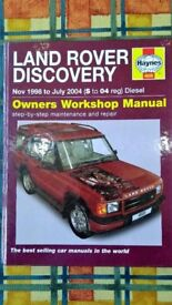 Land Rover Discovery Diesel Haynes Manual for vehicles between Nov 1998 to July 04