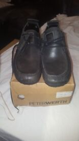 Men's shoes. Peter Werth, Model Folded Face. Black. Unworn. Boxed. Sizes 9, 11