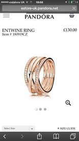 Genuine Pandora rose gold ring small size worn a couple of times