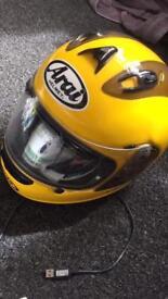 Yellow Arai XL bike helmet