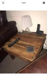 Large Rustic Square Studded / Nailed Solid Wood Table