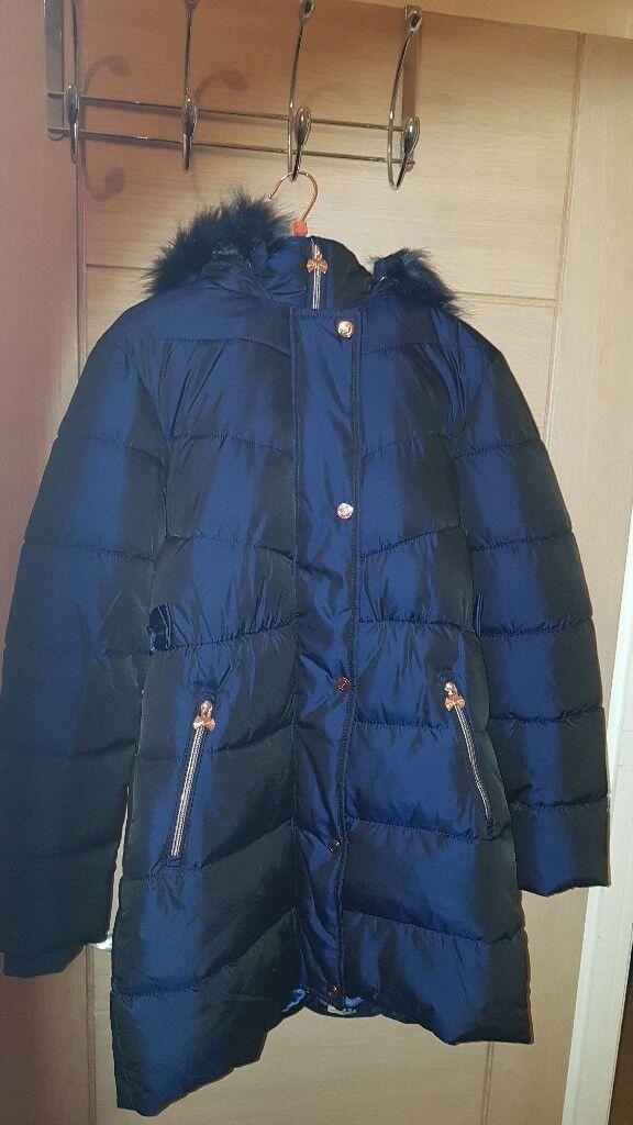 dbc31034fb96 Baker by Ted Baker - Girls  navy padded shower resistant longline coat
