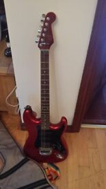 Electric 6 string guitar and padded case